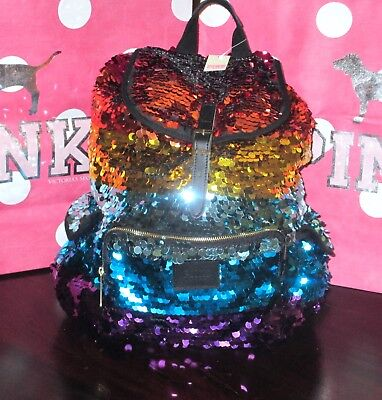 Victoria's Secret PINK Rainbow Sequin Fashion Show Campus Backpack Bag NEW RARE