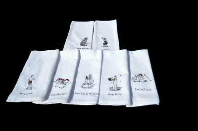 """Christmas Dinner Napkins Novelty Embroidered Funny Fabric White 7 ct lot 17x17"""""""