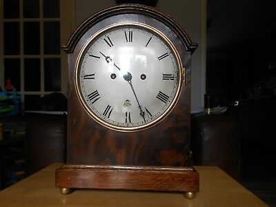 Railway Twin Fusee Burr Walnut 8 Day Arched Top Striking Bracket Clock