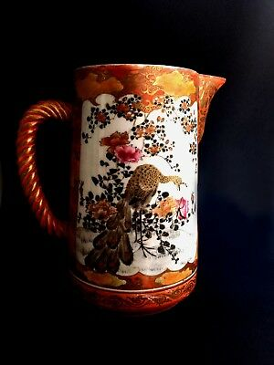 Japanese Satsuma pitcher porcelain with fine painting c. 1890