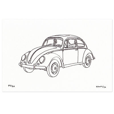 VOLKSWAGEN Beetle VW Type 1 ORIGINAL Drawing Classic CAR ART Limited Edition