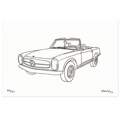 CLASSIC CAR ART MERCEDES BENZ W113 PAGODA Original Limited Edition Drawing