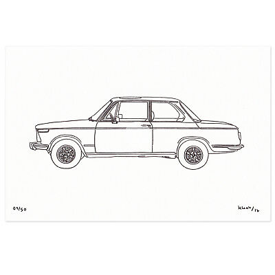 BMW 2002 02 SERIES Original Limited Edition Drawing ART Car Classic Sports Car