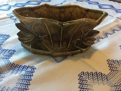 Vintage McCoy USA Brown and Green Small Centerpiece Planter 50'