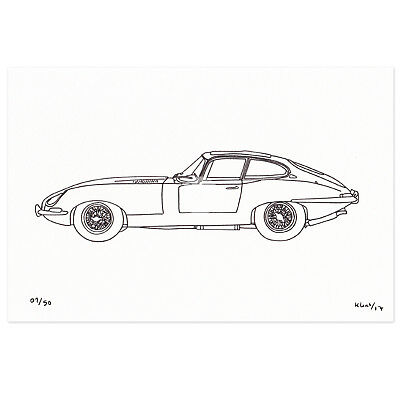 Original Limited Edition Drawing JAGUAR XK-E E- TYPE CLASSIC Sports Car Art