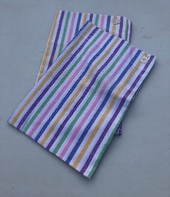 Vintage Candy Stripe Cotton Pair of Pillowcases New Old Stock 1970s