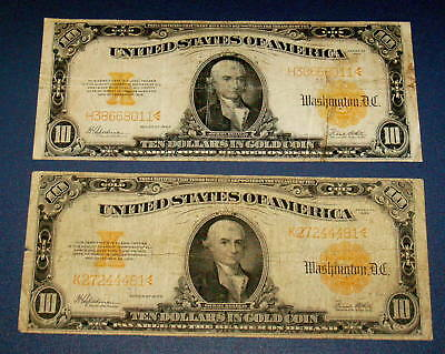Two 1922 Large Size GOLD CERTIFICATE $10 Ten Dollar Note MICHAEL HILLEGAS