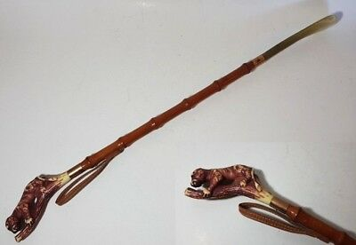 LONG REACH VINTAGE RETRO HANGING SHOE HORN FAUX HORN, LEATHER & BAMBOO 57cm