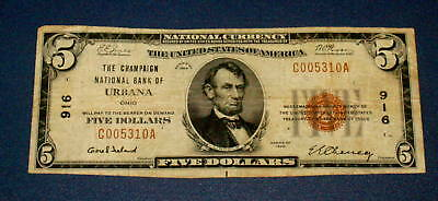 1929 URBANA OHIO 916 National Currency $5 FIVE Dollar Note CHAMPAIGN BANK
