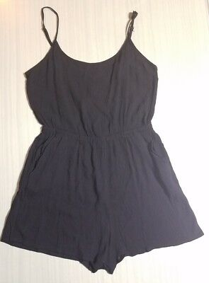 NWT Forever 21 Sz L (11-13) Black Crinkled Chiffon Romper Lightweight Stretch