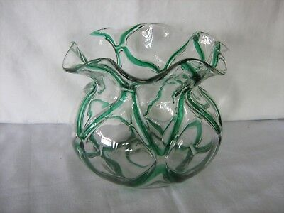 Lovely clear and green lines flared art glass vase