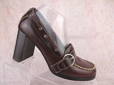 d3f6d2be7b8 Vtg 90s Steve Madden Brown Leather Retro Prep Chunky Heel Pumps Moc Boat  Shoes 8