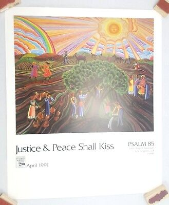 John August Swanson Poster Justice and Peace Shall Kiss 1991 Psalm 85 Print