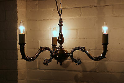 A Vintage Brass Ceiling Light Chandelier Antique French Empire Style VG Quality
