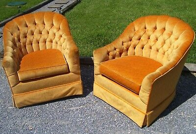 Vintage Mid Century Barrel Club Chairs- Pair- Tub Chairs- Tufted