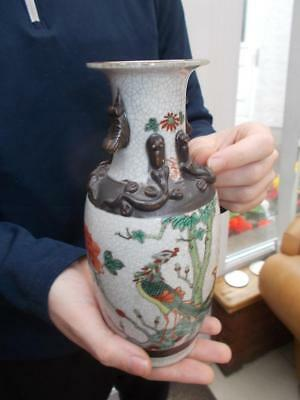 Vintage Chinese Export Crackle Ware Vase Famille Verte In Lovely Condition