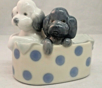 Precious Lladro Nao Figurine 2 Poodle Dogs/puppies In A Basket ~Retired~ 1988