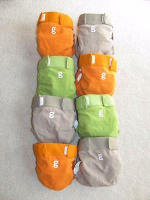 gDiapers Cloth Velcro Diapers Size Medium & Liners Lot 8 Each Orange Brown Green