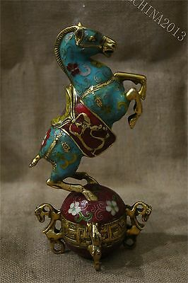 "9.4"" Collect China Fengshui Culture Brass Cloisonne Gilt Horse Success Sculpture"
