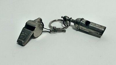 Lot Of 2 Vintage Metal Whistles Police / Coach