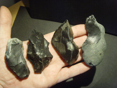 Palaeolithic - Four Superb mousterian scrapers -  Rare UK C.60,000 BP
