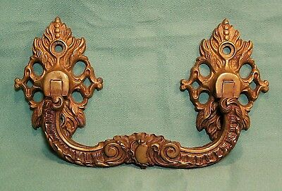 Antique Vintage Bronze Brass ORNATE FRENCH HEAVY DRAWER PULL HANDLE