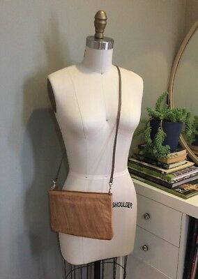 "Vintage Eel Skin Purse Handbag 1960s Tan 10"" x 6"" Crossbody Naiade"