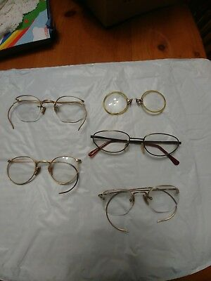 Lot of Antique Vintage Granny Glasses Eyeglasses and Cases
