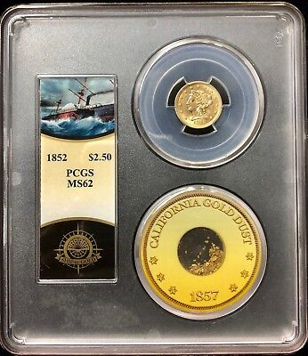 1852 $2.5 Liberty PCGS MS62 SS Central America Shipwreck Gold w pinch