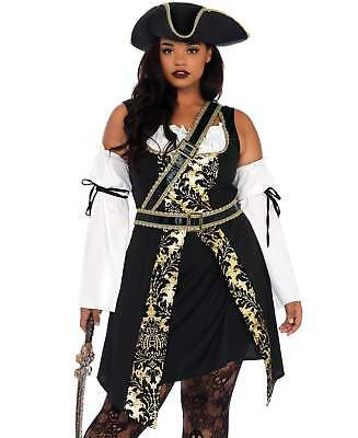 Leg Avenue Women's Black Sea Buccaneer Plus Size Costume Dress Pirate 1x-4x