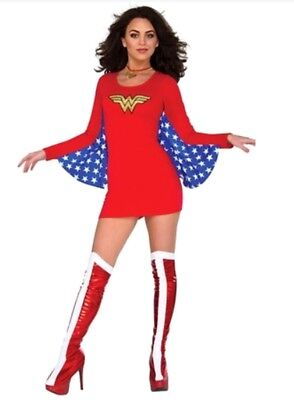 Wonder Woman Mini Costume Fancy Dress with Wings Glittery Logo DC Comic Book