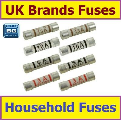 Household Fuses Ceramic 3A 5A 10A 13A or Mixed Regular Domestic UK Mains Plug