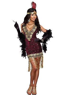 2307fdb1dd 1920 Sophisticated Lady Flapper Sequins Womens Costume Dress and Gloves  SM-MD-XL