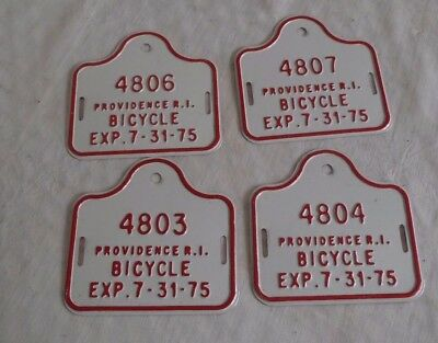 4 1975 Providence RI Bicycle license plates