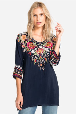 NWT JOHNNY WAS SIZE LARGE SARABETH TUNIC FLORAL EMBROIDERED BLACK BLOUSE
