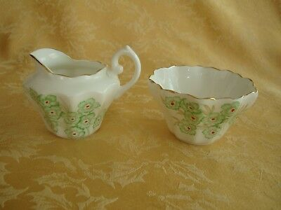 Vintage Royal York Bone China Creamer & Sugar Set Made in England Green Floral