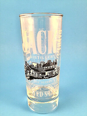 """Jack Daniels Old No. 7 Tennessee Whiskey 6"""" Highball Glass Etched/Gold Rim"""