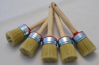 5 of 45mm Pure Bristle Round Paint Brushes, Shabby Chic Chalk Paint, Wax & Oil.