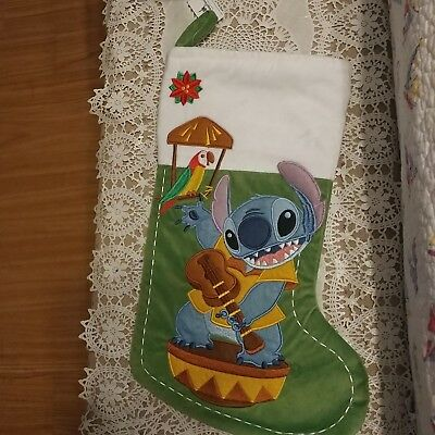 Disney Parks Guitar Stitch Green Parrot Christmas Holiday Stocking NWT