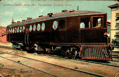 1915 Original Southern Pacific Railroad Motor Car Postcard Train UNPOSTED