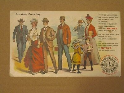 VV135 Victorian Store Trade Card F MAYER'S SHOES MILWAUKEE School Men Ladies