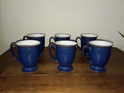 Denby Imperial Blue footed mugs x 6