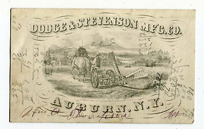 1880's Dodge & Stevenson Mfg. Co. Mowers & Reapers Auburn NY Trade Card Graphic