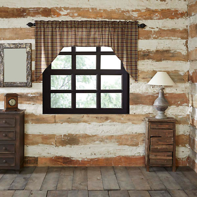 Wyatt Rustic Plaid Cotton Country Cottage Lined Window Swags