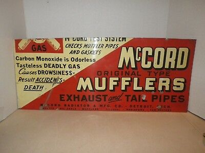 Vintage McCord Mufflers Ehaust & Tail Pipes Tin Advertising Sign