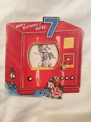Happy 7th Bday Card Shape Old Red T.V. Cut Out Window Reveals Doggy