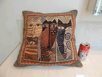 """Laurel Burch pillow Tapestry Native Cats Kitty trio earth tone & gold 18"""" x18"""""""