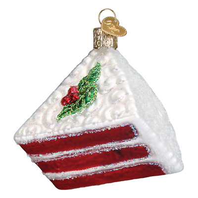 """Red Velvet Cake"" (32297))X Old World Christmas Glass Ornament w/OWC Box"