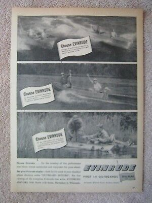 Vintage 1947 Evinrude Outboard Boat Motors Choose Hunting Fishing Print Ad
