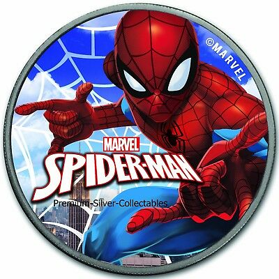 2017 Tuvalu Marvel Series Spiderman .9999 - 1 Ounce Pure Silver Colorized !!